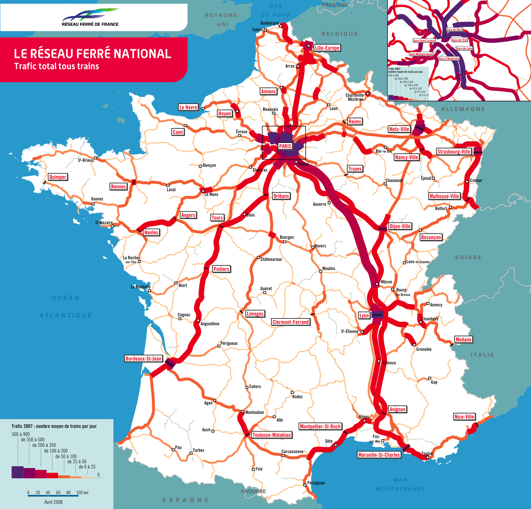 carte de france train - Photo